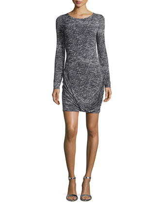 Long-Sleeve Round-Neck Drape-Front Dress, Gray