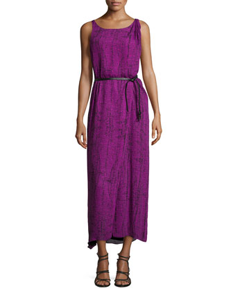 Sleeveless Faux-Wrap Maxi Dress, Purple