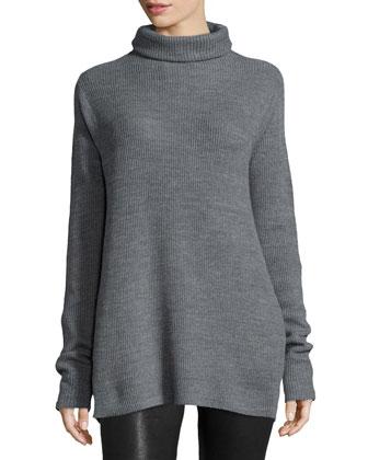 Long-Sleeve Turtleneck Sweater, Heather Gray
