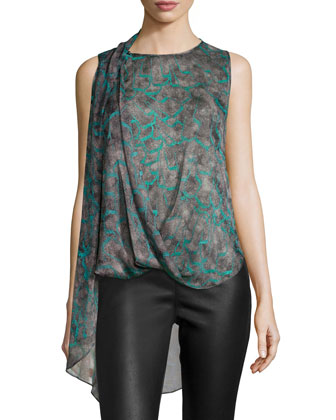 Sleeveless Blouson Top, Juniper Feather