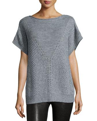 Short-Sleeve Poncho Sweater, Heather Gray/Light Heather Gray