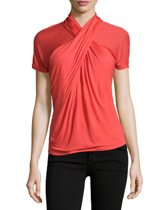 Short-Sleeve Crisscross-Neck Top, Lipstick