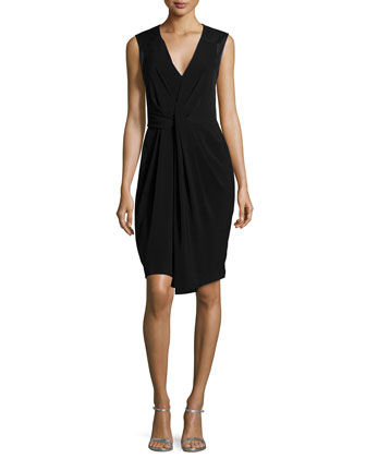 Sleeveless Pleated-Front Dress, Black