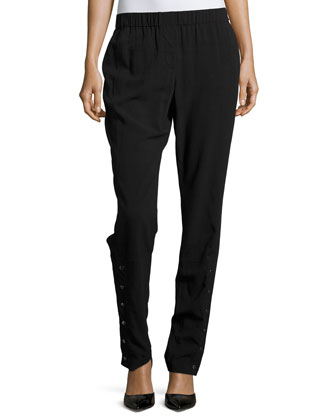 Tapered-Leg Pants W/Buttons, Black
