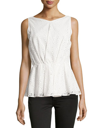 Sleeveless Eyelet Peplum Top, Cream