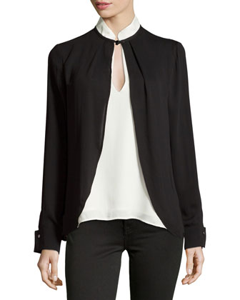 Long-Sleeve Drape-Front Top, Black/Chalk