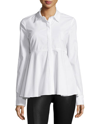 Long-Sleeve Fit-&-Flare Top, White