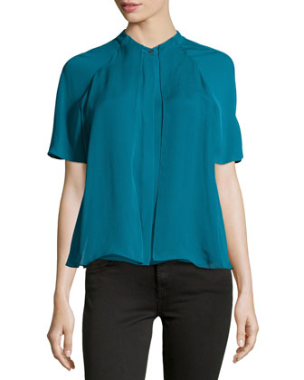 Short-Sleeve Pleated-Front Top, Atlantic