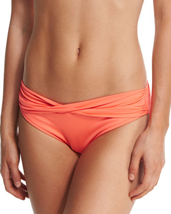 Goddess Twist Bandeau Swim Top, Nectarine