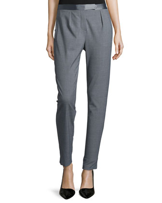 Pleated-Front Slim-Leg Pants, Heather Gray