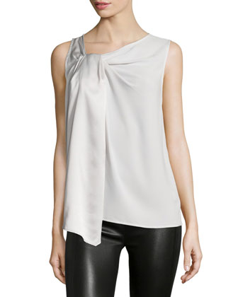 Sleeveless Scoop-Neck Top, Dark Bone
