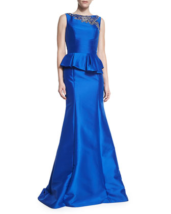 Sleeveless Pleated Peplum Gown