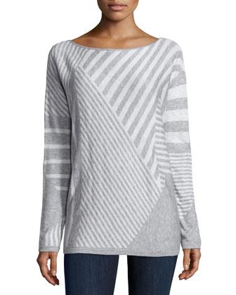 Op-Art Stripe Long-Sleeve Sweater, Heather Gray/White