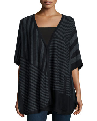 Op-Art Stripe Elbow-Sleeve Sweater, Black/Gray