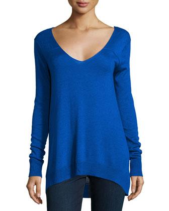 Long-Sleeve V-Neck Sweater, Marina