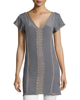 Revnia Short-Sleeve Embellished Dress, Gris