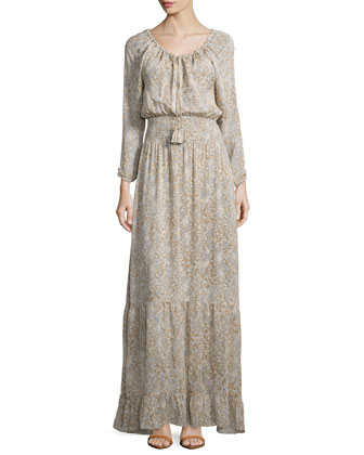 Elvaria Long-Sleeve Maxi Dress, Feather