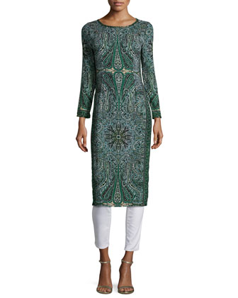Tito Long-Sleeve Printed Dress, Emerald