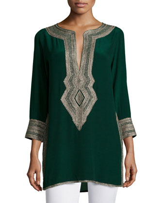 Sythia Embroidered 3/4-Sleeve Tunic, Seaweed
