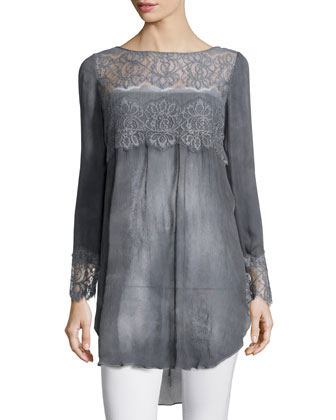 Luspra Long-Sleeve Lace-Embellished Top, Lava