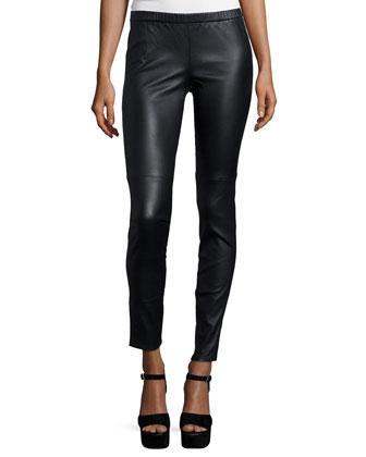 Short-Sleeve Embellished Tee & Stretch Leather Leggings