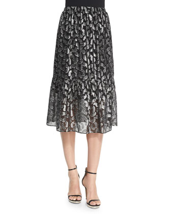 Garrett Metallic Paisley Jacquard Tiered Skirt