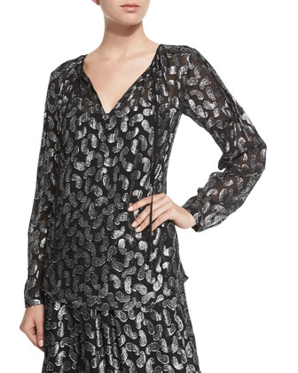 Garrett Metallic Paisley Tie-Neck Blouse