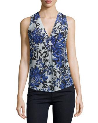 Sleeveless V-Neck Floral Silk Top, Misty Gray