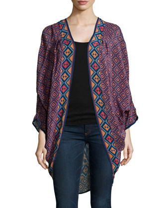Shara Printed Silk Jacket, Women's