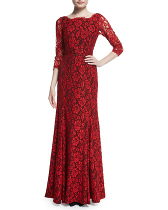 Zarita Floral-Lace Gown, Poppy/Black