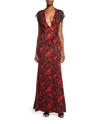 Faustine Silk Floral Daze Maxi Dress, Black/Red