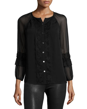 Taylor Silk Button-Front Top, Black