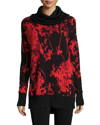 Ahiga Cowl-Neck Floral Daze Pullover Sweater, Red/Black