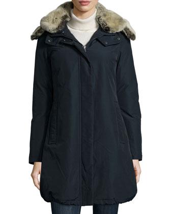 Bow Bridge Placket-Front Parka W/ Fur-Lined Hood