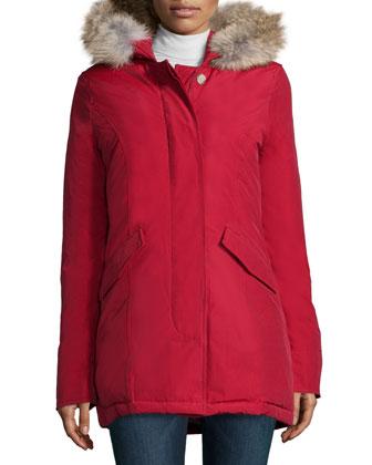 Arctic Placket-Front Parka W/ Fur Hood