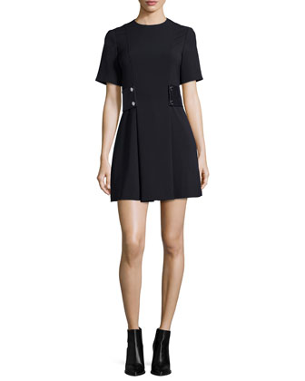 Short-Sleeve Snap-Waist Dress, Black