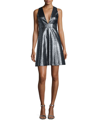 Metallic Jacquard V-Neck Fit & Flare Dress