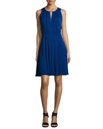 Sleeveless Pleated A-Line Dress