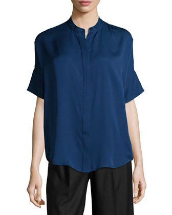 Short-Sleeve Silk Blouse