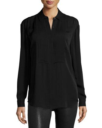 Pleated Bib Long-Sleeve Shirt