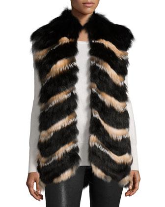 Chevron Fox Fur Vest