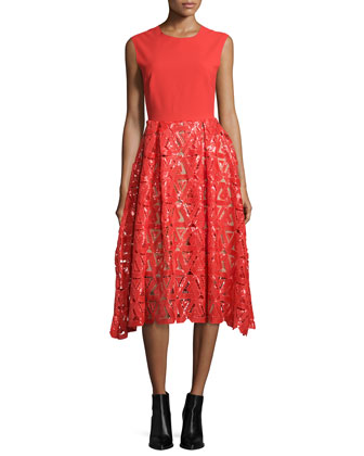 Sleeveless Geometric Sequin Dress, Red