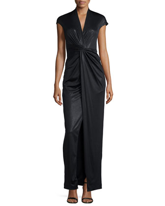 Cap-Sleeve Twist-Front Gown