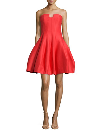 Strapless A-Line Cocktail Dress, Lipstick