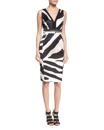 Sleeveless Zebra-Print Sheath Dress