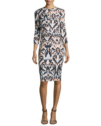 Khalo-Print 3/4-Sleeve Sheath Dress, Pearl
