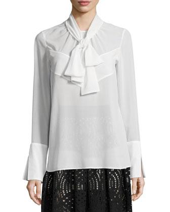 Fur-Trim Houndstooth Jacket, Tie-Neck Long-Sleeve Blouse & High-Waist ...
