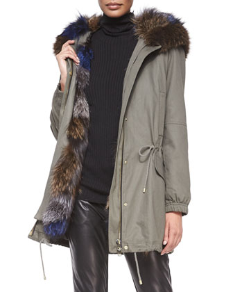 Parka Jacket with Fur-Trim Hood, Long-Sleeve Skinny-Rib Sweater & Leather ...