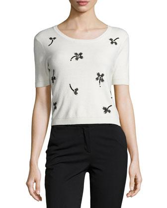 Short-Sleeve Crop Top W/ Floral Applique