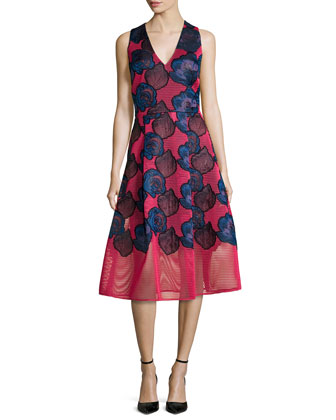 Aki Embroidered Fit & Flare Cocktail Dress
